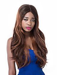 vogue européenne longue perruque sythetic partie d'onde brun mixte pour les femmes