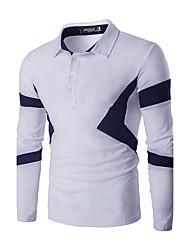 Men's Long Sleeve Polo,Cotton Casual / Sport Color Block