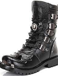 Черный-Мужской-Для прогулок Повседневный-Материал на заказ клиента-На толстом каблуке-Теплая зимняя обувь