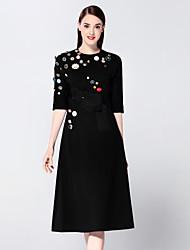 мэри янь& ю женские выходя сложные оболочки платья, лоскутное вокруг шеи миди ½ длина рукава черный хлопок