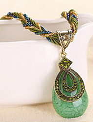 Bohemia Colorful Drop Natural Stone Gem Peacock Animal Pendant Necklace with Acrylic Beads Strand Weave