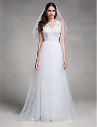 LAN TING BRIDE A-line Wedding Dress See-Through Court Train V-neck Tulle with Appliques