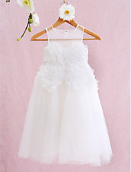 A-line Knee-length Flower Girl Dress - Tulle Jewel with Flower(s)