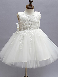 2017 Ball Gown Knee-length Flower Girl Dress - Lace / Organza Sleeveless Jewel with Bow(s) / Lace