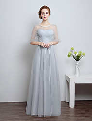 Floor-length Lace / Tulle Bridesmaid Dress - Lace-up Ball Gown Sweetheart with Bow(s) / Lace