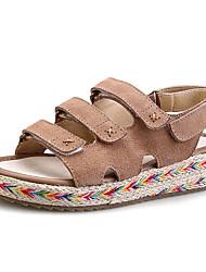 женская обувь из кожи плоский каблук Комфорт / круглые сандалии пальца ноги платье черный / миндаль / хаки