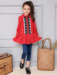 Menina de Camisa / Blusa,Casual Color Block Algodão Primavera / Outono Vermelho