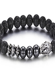 Kalen®2016 New Arrival Jewelry Men's Stainless Steel Buddha And Lava Beaded Bracelet