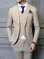 Suits Slim Fit Notch Single Breasted One-button Cotton Blend Solid 3 Pieces Khaki Straight Flapped None KhakiNone