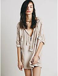 Tee-shirt Aux femmes,Couleur Pleine Décontracté / Quotidien Sexy Printemps / Automne Manches Longues Col en V Beige / Orange Coton / Lin