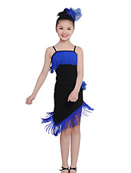 Shall We Children Performance Cotton Ruched / Tassel(s) 2 Pieces Latin Dance Long Sleeve Latin Dance Outfits