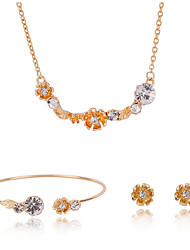 Gold Sweet Style Flower Crystal Cuff Bangle & Stud Earrings & Pendant Necklace Jewelry Set