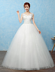 Ball Gown Wedding Dress Floor-length V-neck Lace / Satin / Tulle with Lace / Beading