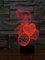 The Cartoon Cute Heart Bear Shape LED Lamp 3D Baby Night Light
