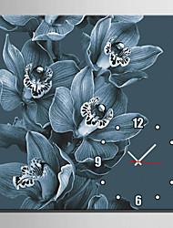 Moderne/Contemporain Fleurs / Botaniques Horloge murale,Carré Toile40 x 40cm(16inchx16inch)x1pcs/ 50 x 50cm(20inchx20inch)x1pcs/ 60 x