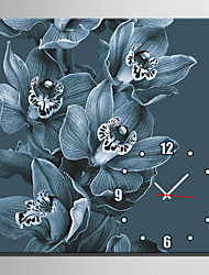 E-HOME® Dark Blue Flowers Clock in Canvas 1pcs