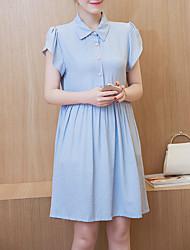 Maternidade Solto Vestido,Casual Simples Sólido Colarinho de Camisa Altura dos Joelhos Manga Curta Azul / Rosa / Vermelho Raiom Primavera