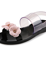 Feminino-Rasos-Plástico-Rasteiro-Preto / Rosa-PVC-Casual