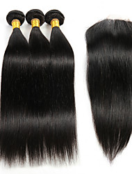 "3Pcs 8""-26"" Peruvian Straight Remy Hair Weave Extensions with 1Pc 4""x4"" Lace Top Closure Virgin Hair"