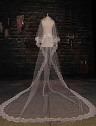 Wedding Veil Two-tier Cathedral Veils Lace Applique Edge Tulle Lace Ivory
