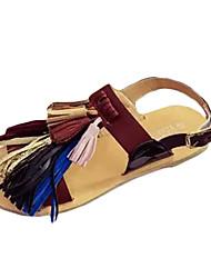 Damen-Slippers & Flip-Flops-Lässig-PU-Flacher AbsatzSchwarz Braun