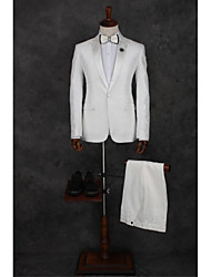 Suits Tailored Fit Peak Single Breasted One-button Polyester Patterns 2 Pieces White Straight Flapped