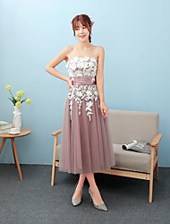 Tea-length Lace / Satin Bridesmaid Dress Ball Gown Strapless with Lace / Sash / Ribbon