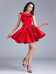 TS Couture Cocktail Party Dress Ball Gown Bateau Short / Mini Satin with Lace / Sash / Ribbon