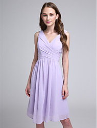 Knee-length Chiffon Bridesmaid Dress - A-line V-neck with Criss Cross