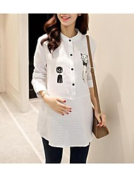 Maternity Stand Ruffle Shirt,Cotton Long Sleeve