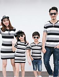 Ensembles de vêtements pour la famille Eté / Printemps / Automne Manches Courtes Coton Fin Micro-élastique