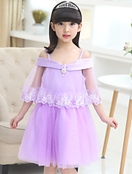 A-line Knee-length Flower Girl Dress - Cotton / Satin / Tulle Sleeveless Spaghetti Straps with Lace