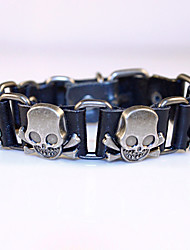 Skull Classical Vintage Mens Leather Braclet Fashion Jewelry For Men Punk Rock