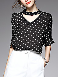 AFOLD® Women's Stand 1/2 Length Sleeve Shirt & Blouse Black / White-5506