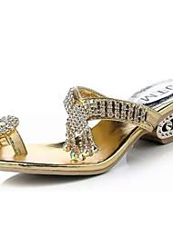 Damen-Sandalen-Lässig-PU-Niedriger Absatz-Sandalen-Silber / Gold