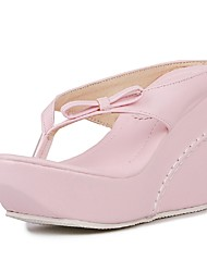 Women's Shoes Wedges / Flip Flops Sandals Outdoor / Dress / Casual Wedge Heel Bowknot Black / Pink / White