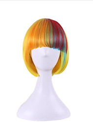 The New Anime Wigs Yellow Color Mixture Bobo Neat Bang Cos Wig 10 Inch