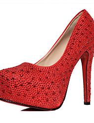 Homme-Décontracté-Rouge / Argent-Gros Talon-Talons-Chaussures à Talons-Polyuréthane