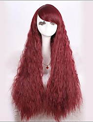 Stylish Fluffy Neat Bang Red Character Long Wavy Synthetic Wig For Women