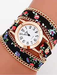 Women's Watch Bohemian Style Flower Leather Band Anlog Quartz Bracelet Fashion Watch