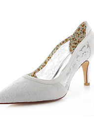 Damen-High Heels-Hochzeit / Kleid / Party & Festivität-Spitze / Stretch - Satin-Stöckelabsatz-Absätze / Spitzschuh-Elfenbein