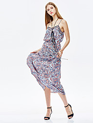 HEARTSOUL Women's Going out Sexy Loose Dress,Floral Halter Maxi Sleeveless Blue Polyester Summer