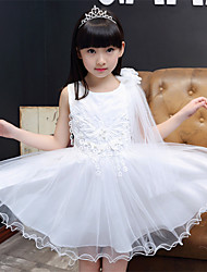 A-line Knee-length Flower Girl Dress - Cotton / Satin / Tulle Sleeveless Jewel with Embroidery / Flower(s)