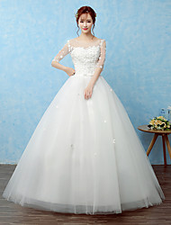 Ball Gown Wedding Dress Floor-length Scoop Lace / Satin / Tulle with Lace / Pearl
