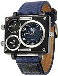 Hommes Montre Militaire / Montre Tendance / Bracelet Montre Quartz Triple Fuseaux Horaires PU Bande Cool Bleu Marque