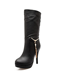 Women's Boots Spring / Fall / Winter Platform / Fashion Boots Leatherette Outdoor / Casual Stiletto Heel ChainBlack