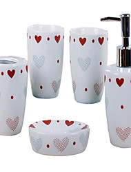love heart pattern Bathroom Five piece suit+Box