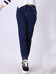 Women's Solid Blue Jeans Pants,Plus Size / Street chic
