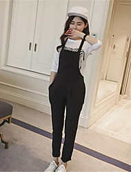 Women's Casual/Daily Simple Summer Set,Geometric Round Neck ½ Length Sleeve Black Cotton Thin