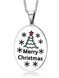 Women's Merry Chirstmas Oval Steel Pendant for Necklace